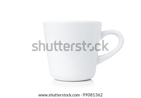 white cup isolated on white background - stock photo