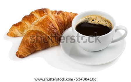 White cup of black coffee with foam and two croissants isolated on white background