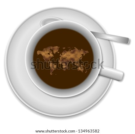 White cup of coffee and world map floating in it / World in a cup of coffee - stock photo
