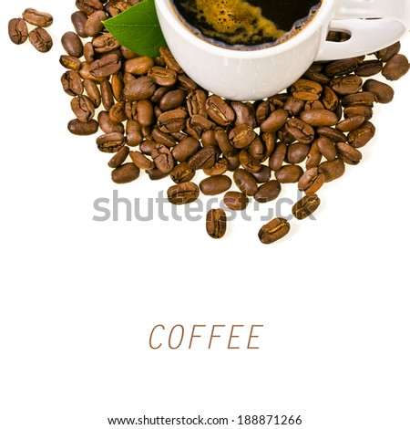 white cup of coffee, coffee beans spilling around   isolated on white background - stock photo
