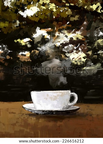 white cup of coffee on a outdoor wooden table, digital painting illustration - stock photo
