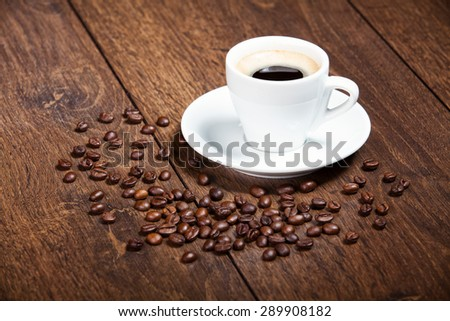 white cup of coffee on the wooden table