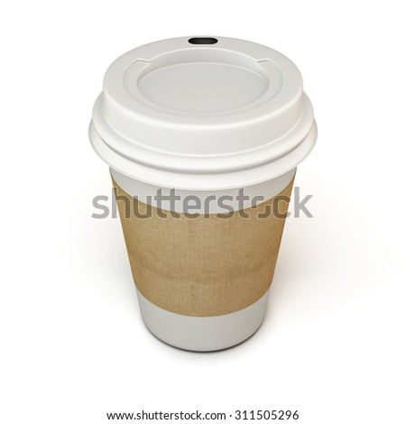 White cup of coffee with a cardboard label on a white. 3d. - stock photo