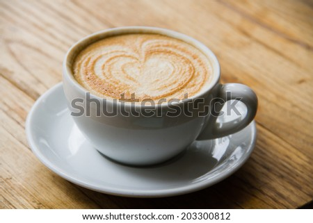 white cup of fresh aromatic coffee cappuccino