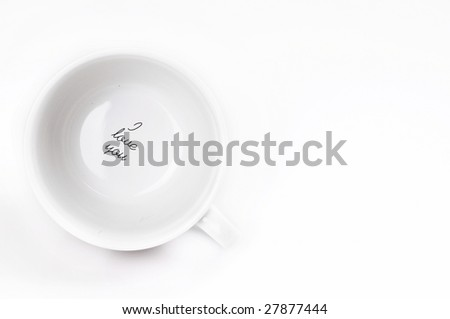 white cup on a white background - stock photo