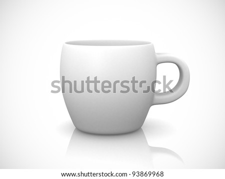 White cup on a white background - 3d render illustration