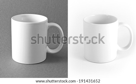White cup on gray and white background - stock photo