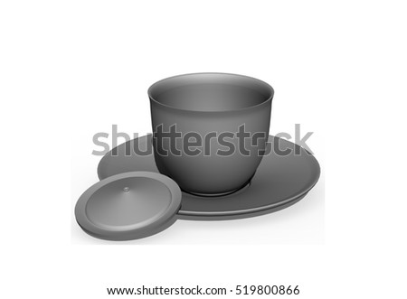 White cup on white background. 3D rendering.