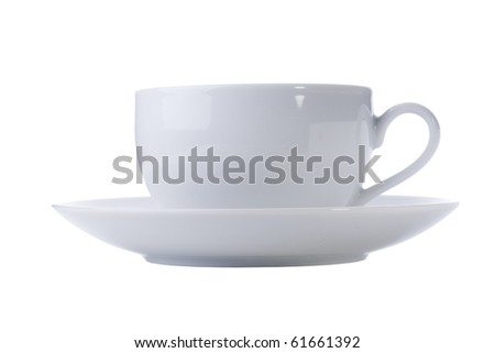 White cup with a saucer on a white background. - stock photo