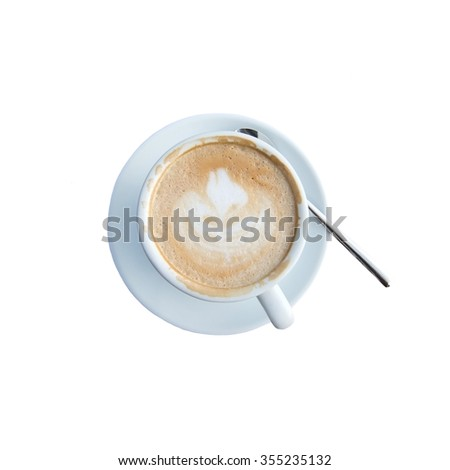 White cup with foaming cappuccino coffee and spoon isolated on white - stock photo