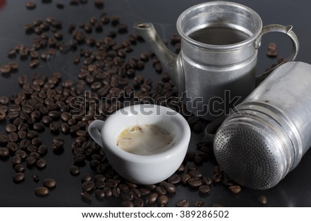 white cup with old Neapolitan coffee on white background - stock photo