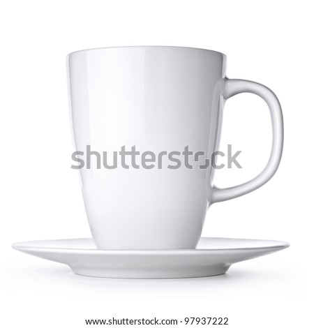 White cup with seucer isolated on white background - stock photo