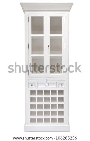 White cupboard with glass doors. Taken on a clean white background - stock photo
