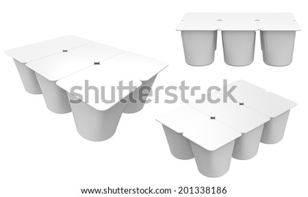 White Cups set Tub Food Plastic Container For Dessert, Yogurt, Ice Cream, Sour Cream Or Snack. Ready For Your Design. - stock photo