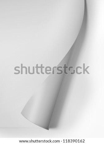 White curled corner - stock photo