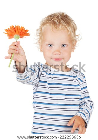 White curly hair and blue eyes baby with flower. Isolated on white background - stock photo