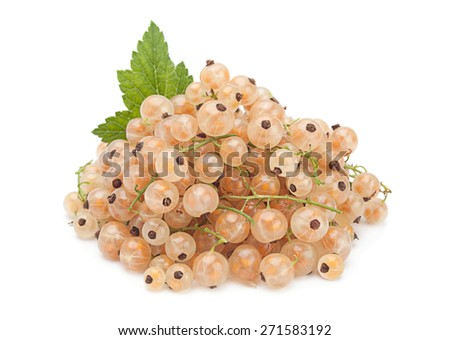 White currant with leaf isolated on white - stock photo