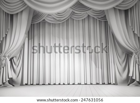 white curtains - stock photo