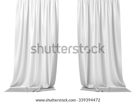 White curtains. 3d illustration isolated on white background  - stock photo