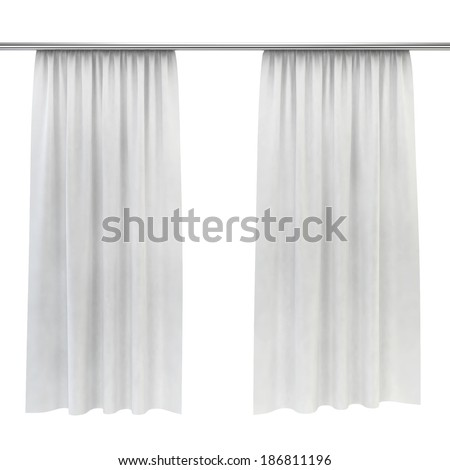 White curtains. 3d image isolated on white background  - stock photo