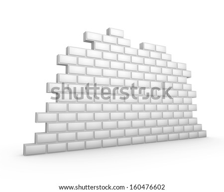 white 3d brick wall - stock photo