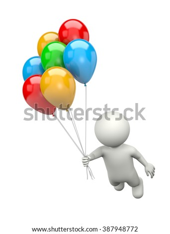 White 3D Character Flying with a Bunch of Colorful Balloons Illustration on White Background - stock photo