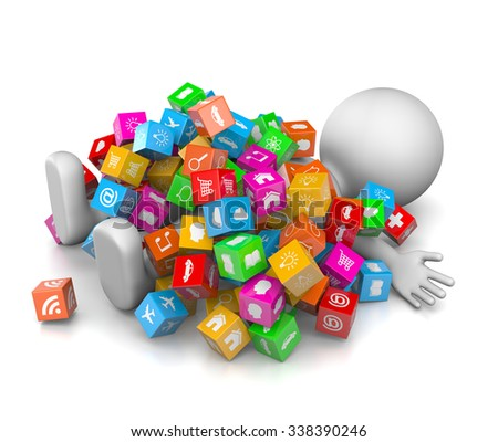 White 3D Character Overwhelmed with a Great Number of App Icons 3D Illustration on White Background - stock photo