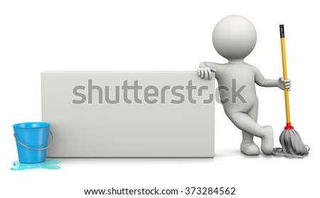 White 3D Character with Cleaning Tools Leaned on a Blank Bill 3D Illustration - stock photo