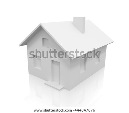 White 3D house with reflection on white background - stock photo