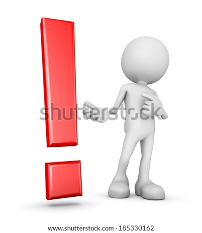 white 3d human pointing at a red exclamation mark symbol - stock photo