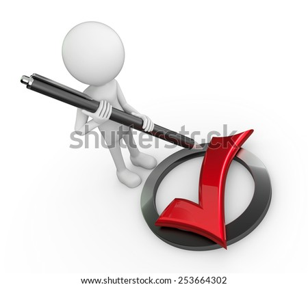 White 3d human - red check symbol - stock photo