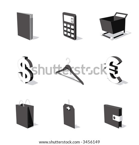 white 3D icon set 06