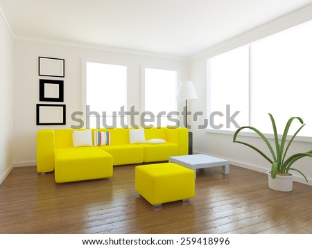 white 3d interior of a room in the large flat - stock photo