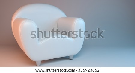 white 3D leather armchair - stock photo