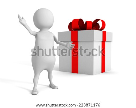 white 3d man and gift box with red ribbon bow. 3d render illustration - stock photo