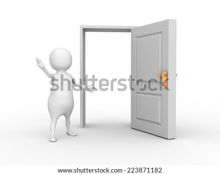 white 3d man and opened door. 3d render illustration - stock photo