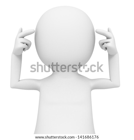 white 3d man conceptualy thinking with his own head - stock photo