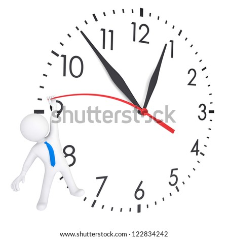 White 3d man hanging on second hand watches. Isolated render on a white background