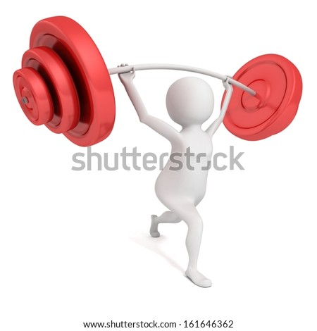 white 3d man lifting heavy red weights barbell - stock photo