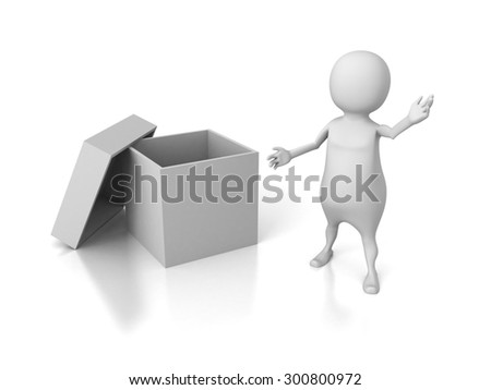 White 3d Man Presents Empty Opened Cover Box Container. 3d Render Illustration - stock photo