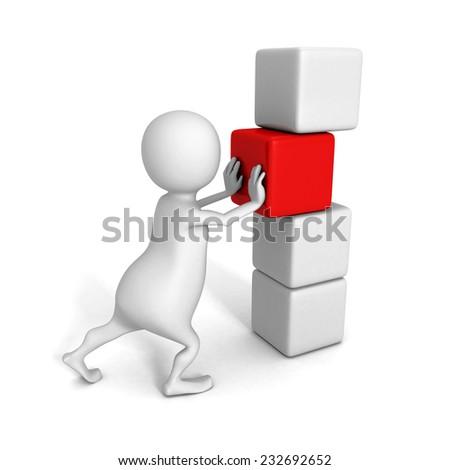 white 3d man push main last cube of success tower. 3d render illustration - stock photo