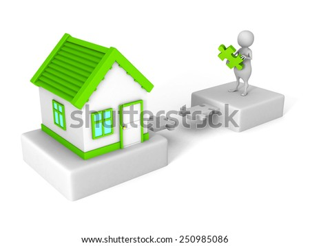 white 3d man puzzle bridge to green roof house. real estate concept - stock photo