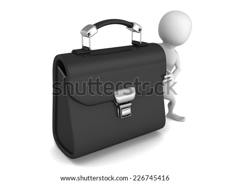 white 3d man with big black leather briefcase. 3d render illustration - stock photo