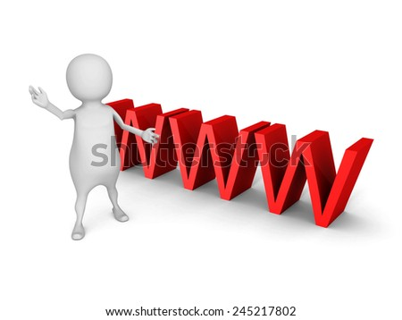 white 3d man with big red WWW text symbol. 3d render illustration - stock photo