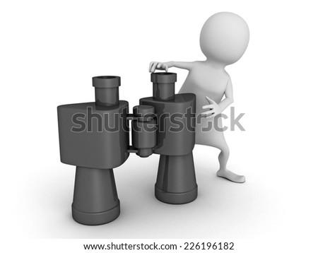 white 3d man with binoculars. 3d render illustration - stock photo