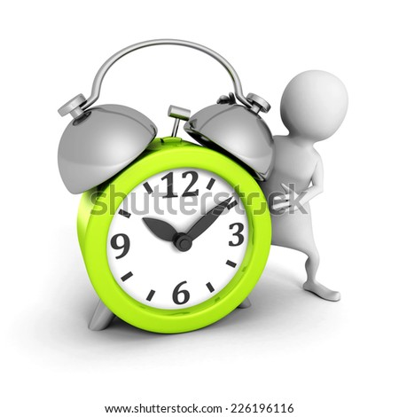 white 3d man with green alarm clock. 3d render illustration - stock photo