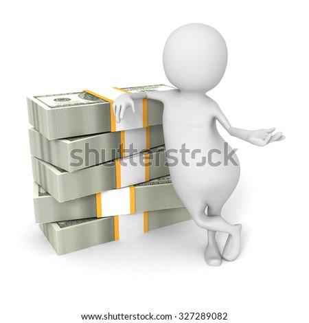 White 3d Man With Hundred Dollar Bills. 3d Render Illustration - stock photo