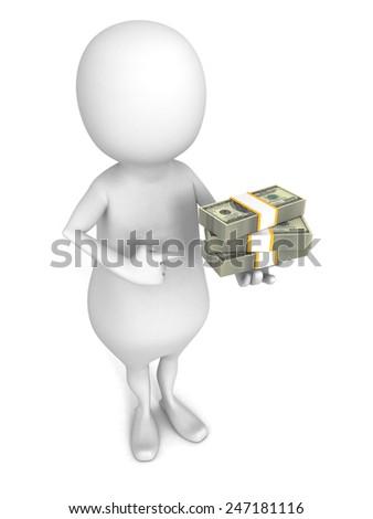 white 3d man with hundred dollar packs. 3d render illustration - stock photo