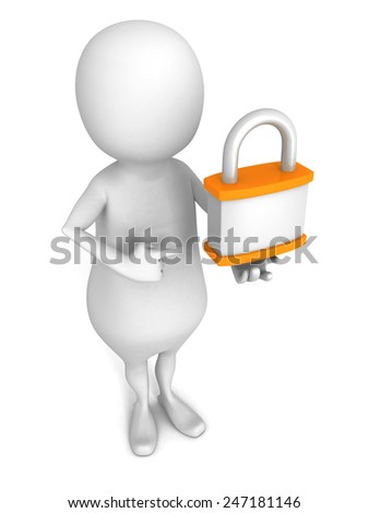 white 3d man with orange padlock. security concept 3d render illustration - stock photo