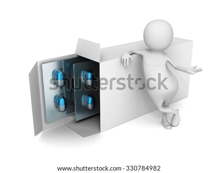 White 3d Man With Pack Of Medical Pills. 3d Render Illustration - stock photo